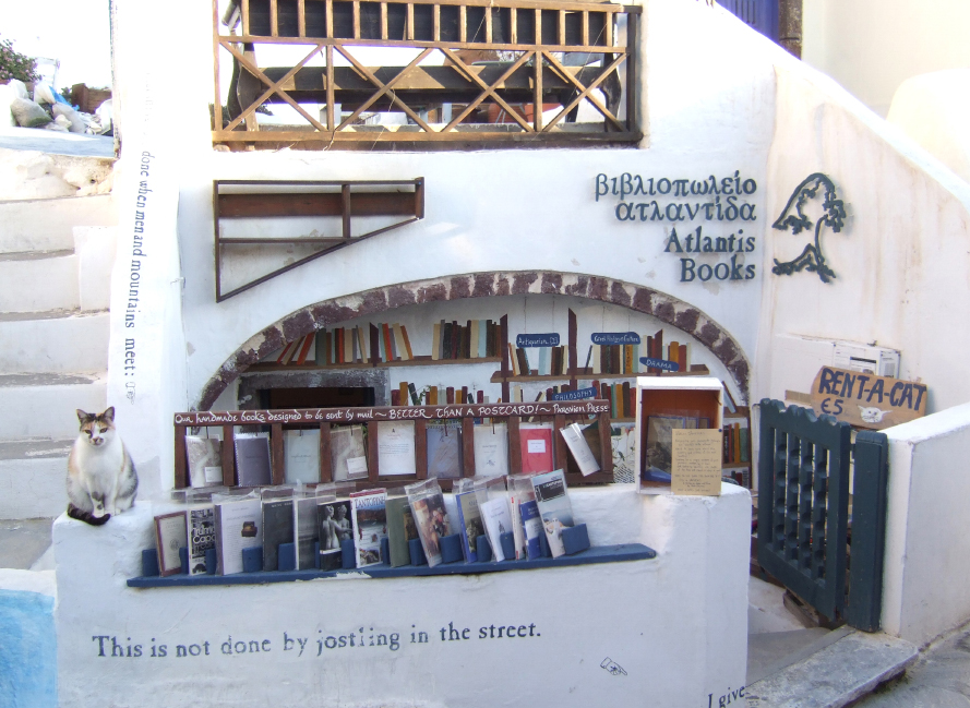 Wonderful indie bookstore Atlantis Books, in Oia