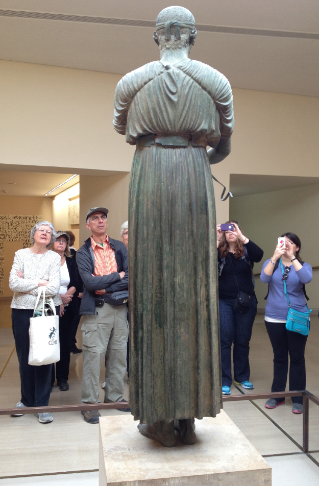 Beholding the bronze Charioteer of Delphi