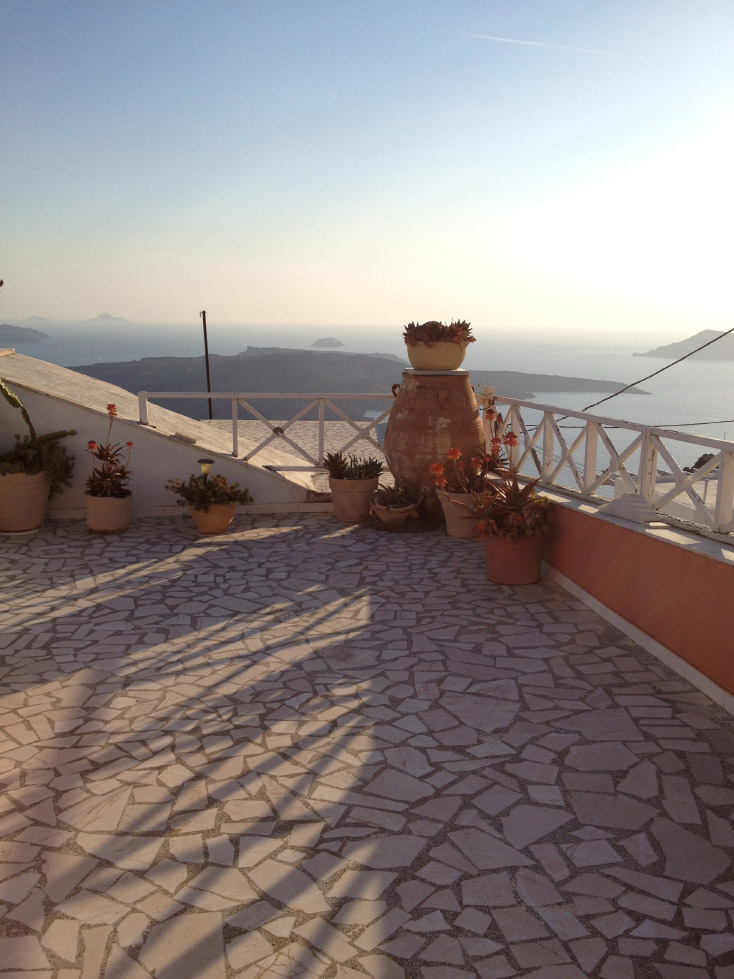 Shadows at sunset on Santorini, overlooking the caldera
