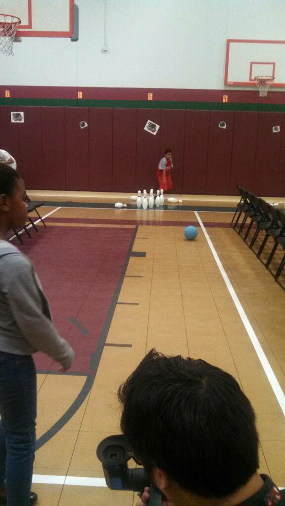 Crystal Allen bowling school visit